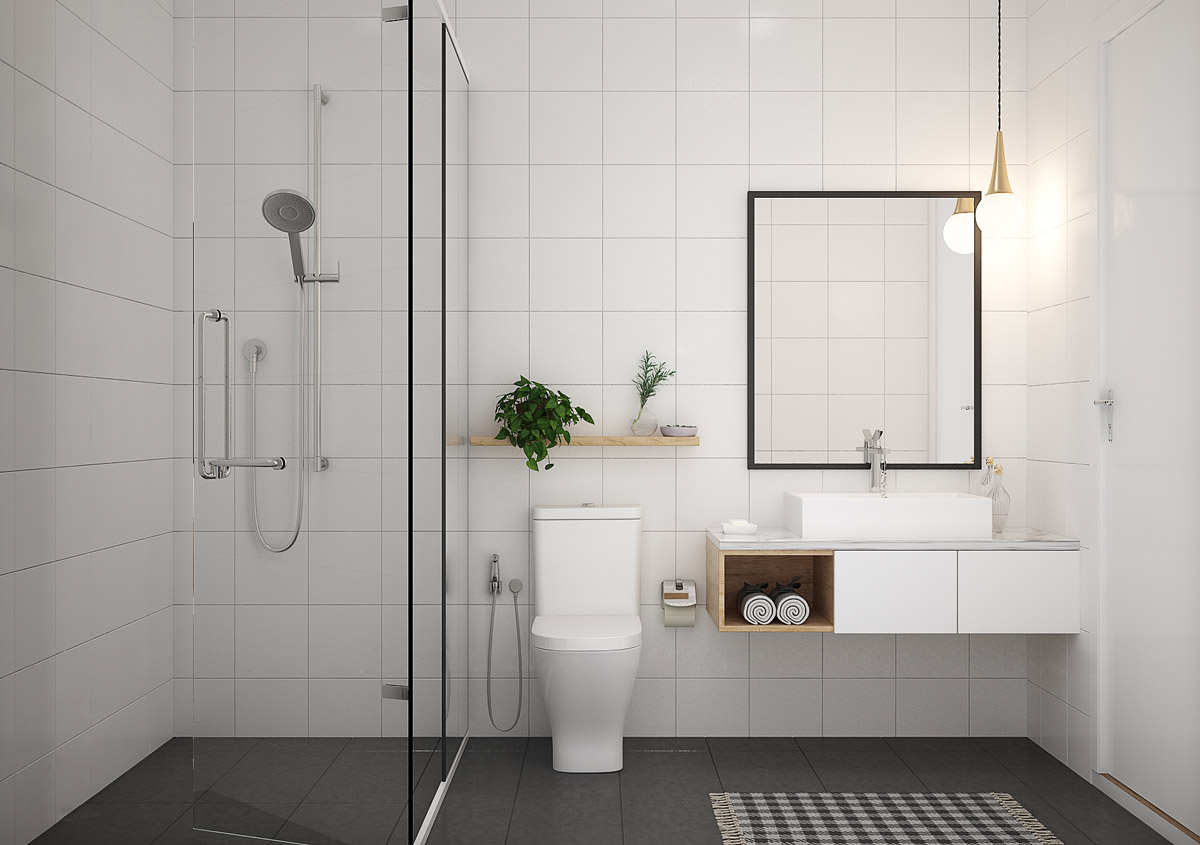 11 mẫu thiết kế nội thất phòng tắm phong cách tối giản